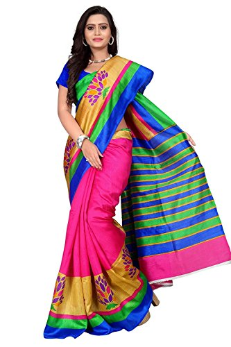 cb2efb515 Saree(Bhagalpuri Silk Pink Saree With Blouse Piece) | Blooming Trenz
