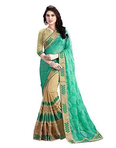 ef70d92429 SareeShop Women's Clothing Saree Collection in Green Coloured Georgette  Material For Women Party Wear Offer Latest Design Wear Sarees With Blouse  Piece