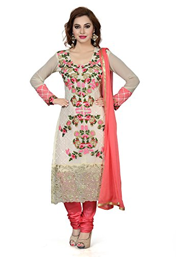 06ac537810 Ishin Women's Silk White & Peach Bollywood Embroidered Unstitched Salwar  Suit Dress Material (Anarkali/Patiyala) With Dupatta