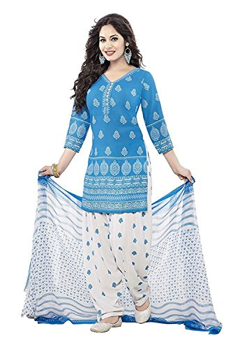 07e5210b2a Shiroya Brothers Women's Cotton Printed Unstitched Regular Wear Salwar Suit  Dress Material (SB_Dress Material_Free Size_1890_Blue_White)