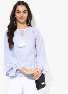 Light Blue Embroidered Blouse Top