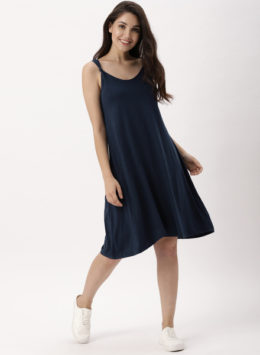 Navy Solid A-Line Dress